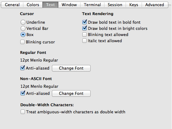 iterm2 Profile Settings Font