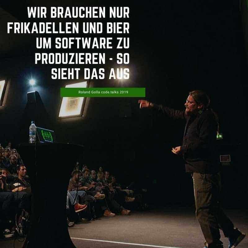 Wir brauchen nur Frikadellen und Bier um Software zu produzieren - so sieht das aus - code.talks 2019 - YT Minute 27